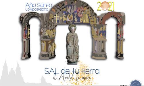 Plakát pro Svatý rok v Santiagu znázorňuje bránu slávy mistra Matouše a zve na cestu za sv. Jakubem