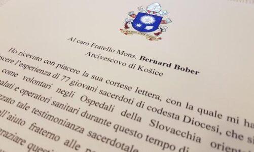 Papež František ocenil horlivost slovenských kněží, kteří pracují jako dobrovolníci v nemocnicích